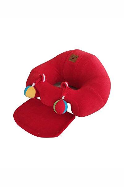 BEBEYATMAZ Çıngıraklı Kırmızı Bebek Oturma Destek Minderi Bebek Koltuğu