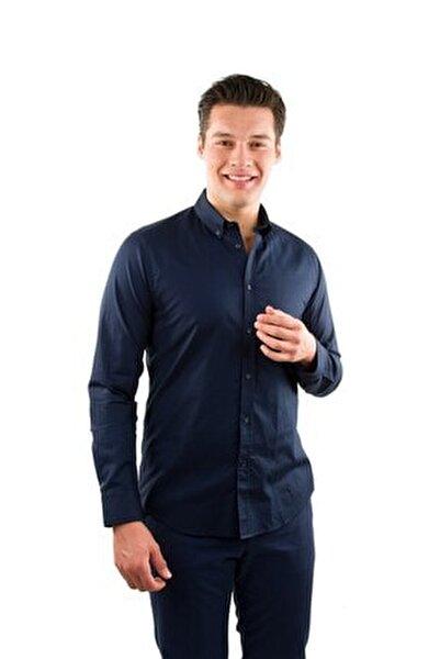 Erkek Lacivert Yaka Düğmeli Casual Fit Lüks Pamuk Gömlek