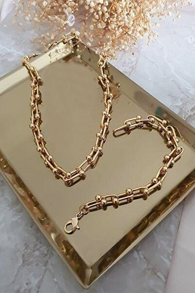 X-Lady Accessories Kadın 2'li Gold Kaplama Lüx Model Kalın Zincir Kolye Ve Bileklik Seti