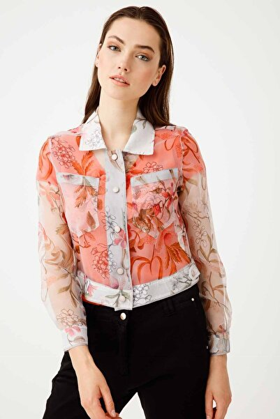 Ekol Kadın Ekru Desenli Organze Ceket