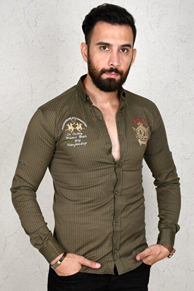 DeepSEA Erkek Haki Çizgili Dar Kesim Gömlek 2002810