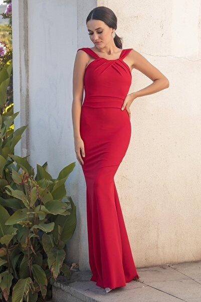 Kadın Kırmızı Likralı Balık Abiye Elbise