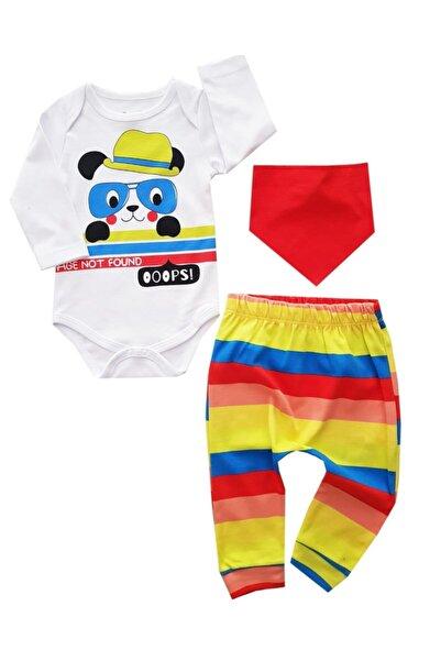 Miniworld Unisex Bebek Renkli Panda Badili Şapkalı 3'lü Takım