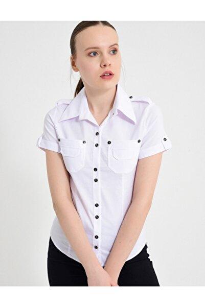 Sima Kadın Beyaz Çift Cepli Kısa Kol Gömlek