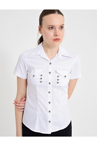 Sima Kadın Beyaz Kısa Kollu Gömlek