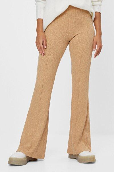 Bershka Kadın Kahverengi Fitilli Ispanyol Paça Culotte Pantolon