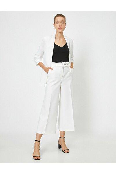 Koton Kadın Beyaz Yüksek Bel Culotte Pantolon