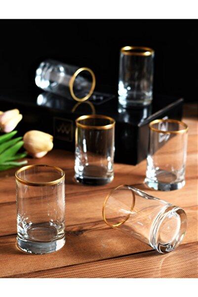 Wow Home 6 Adet Cam Gold Detaylı Kahve Yanı Bardak