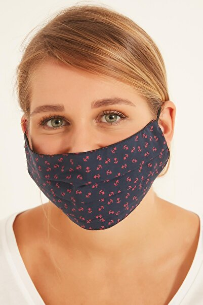 Y-London 112 Çapa Desenli Lacivert % 100 Pamuk Maske