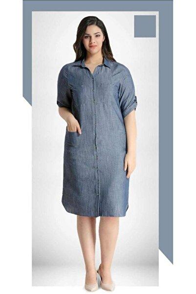 RMG Gömlek Yaka Önden Düğmeli Tensel Kot Elbise