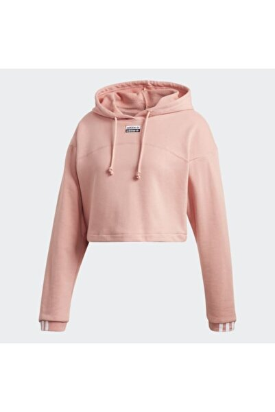 adidas Kadın Pembe R.y.v. Cropped Hoodıe Sweatshirt