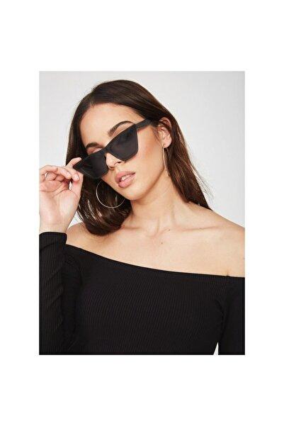 Göz-Göz Store Designer Cat Eye Köşeli Bayan Güneş Gözlüğü Mat Siyah