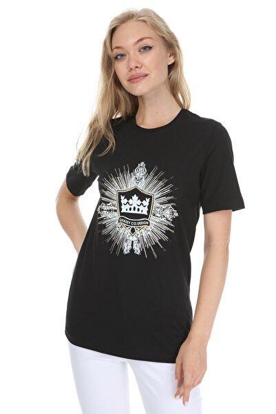 GHASSY CO. Kadın Siyah Boyfriend T-shirt