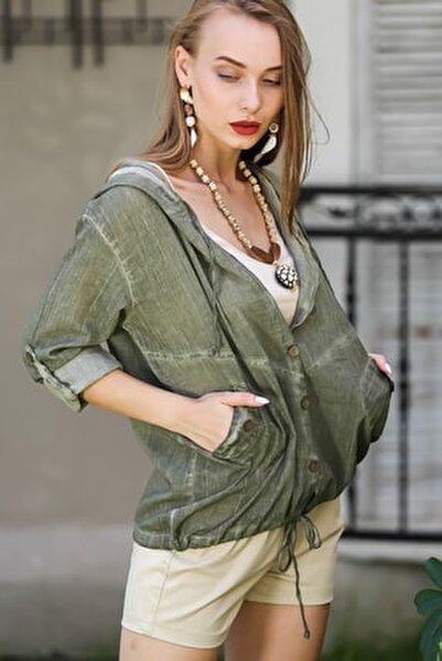 Kadın Haki Casual Kapüşonlu Düğmeli Beli Ip Detaylı Büzgülü Yıkmalı Ceket M10210100Ce99339