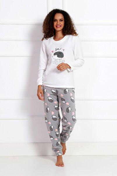 VİENETTA Kadın Beyaz Uzun Kol Normal Beden Polar Pijama Takım