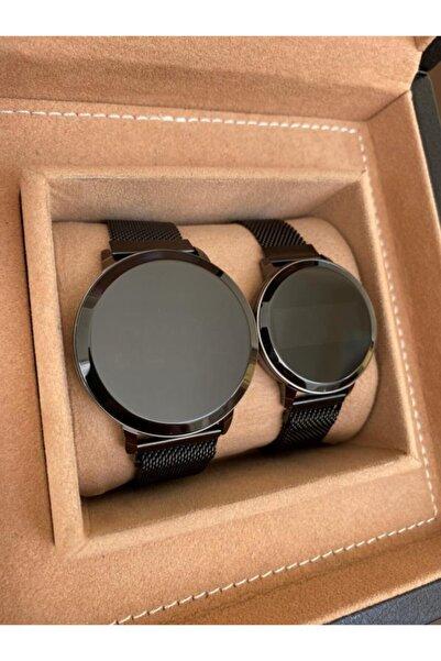 Gold Time Siyah Hasır Mıknatıslı Kordon Siyah Kasa Dokunmatik Sevgili Saatleri