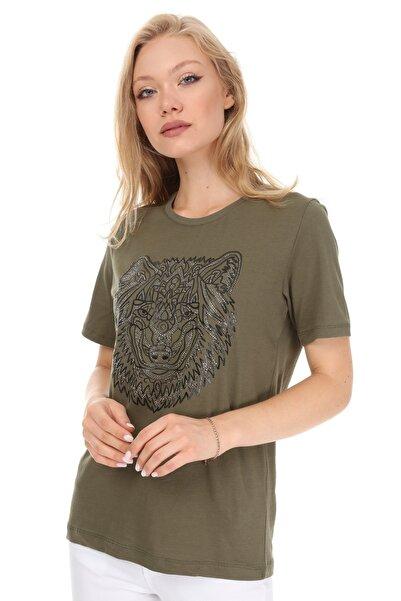 GHASSY CO. Kadın Haki Boyfriend T-shirt