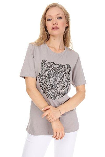 GHASSY CO. Kadın Gri Baskılı Boyfriend T-Shirt 869866048