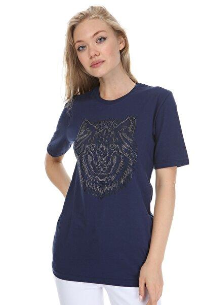 GHASSY CO. Kadın Lacivert Baskılı Boyfriend T-Shirt 869866048