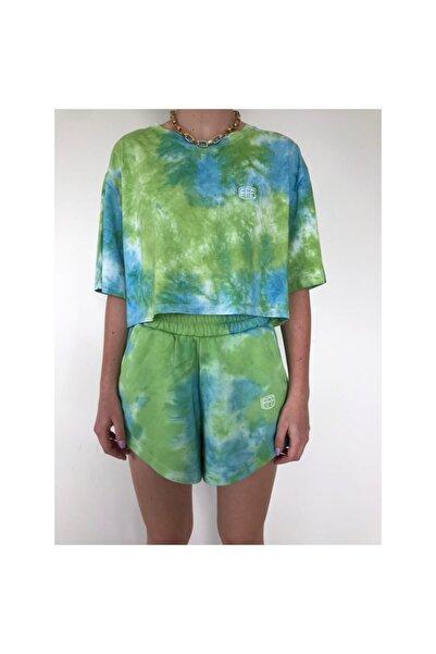 Fineapple Kadın Yeşil Batik Desen T-shirt