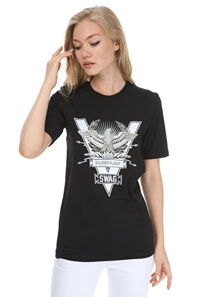 GHASSY CO. Kadın Siyah  Eagle Stone Boyfriend T-shirt 869866045