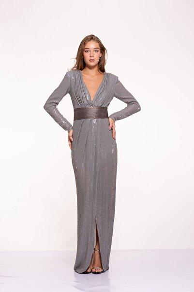 Tuba Ergin Kadın Gümüş Komple Boncuk Ve Payet Işlemeli Deri Kemer Detaylı Maxi Hina Elbise
