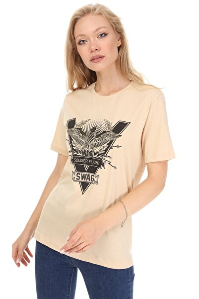GHASSY CO. Kadın Bej Baskılı Boyfriend T-shirt 869866045