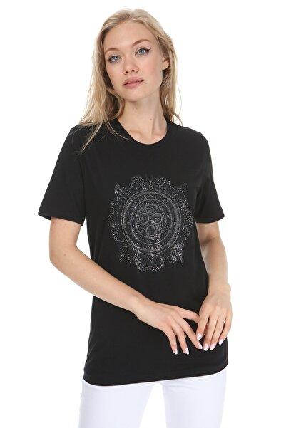 GHASSY CO. Kadın Siyah High Mold Rigging Boyfriend T-shirt
