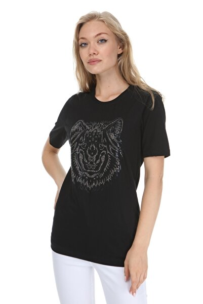 GHASSY CO. Kadın Siyah High Mold Wolf Boyfriend T-shirt 869866048