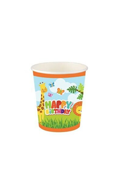 Roll-Up Sevimli Hayvanlar Doğum Günü Karton Bardak 8'li