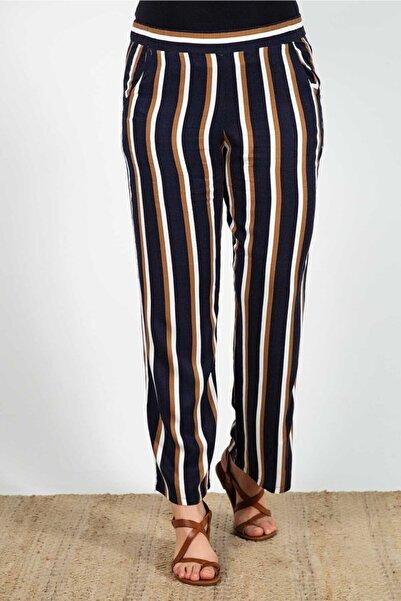 Womenice Kadın Siyah Büyük Beden  Beli Lastikli Çizgli Pantolon