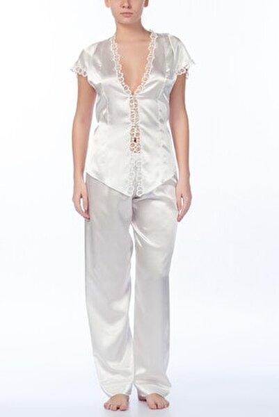 Kadın Ekru Pijama Takımı 3'lü