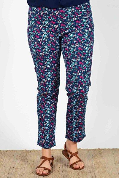 Womenice Kadın  Lacivert Büyük Beden Çiçek Desenli Pantolon