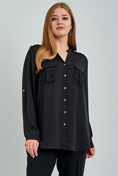 Mammamia Kadın Siyah Önü Detaylı Ekol Bluz