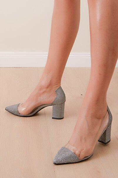 Shoes Time Kadın Platin Çupra Topuklu Ayakkabı