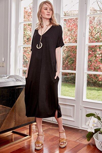 boutiquen Kadın Siyah V Yaka Cepli Elbise