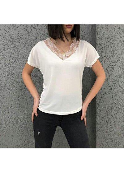 zeynep Kadın Beyaz Dantel V Yaka Bluz