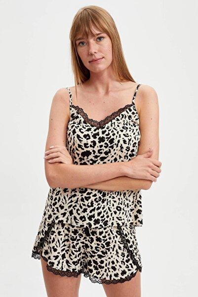 DeFacto Fit Kadın Black Red Dantelli Pijama Takımı S2278AZ20AU