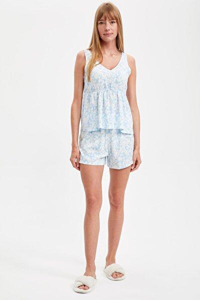 DeFacto Fit Kadın Blue Volanlı Pijama Takımı S2686AZ20HS