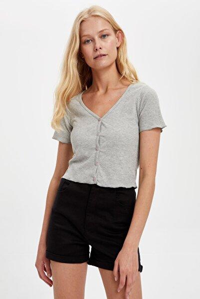 DeFacto Kadın Grey Melange Düğmeli Basic Crop Tişört S8020AZ20HS