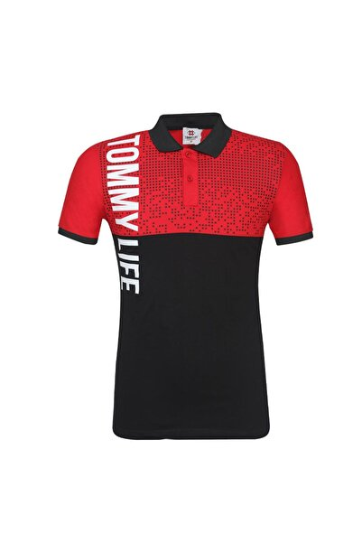 Tommy Life Göğüs Garnili Polo Yaka Kırmızı Erkek Tshirt
