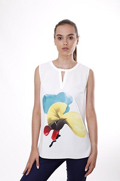 Cliche Kadın Sarı Magnolya Çiçek Desenli Kolsuz Bluz