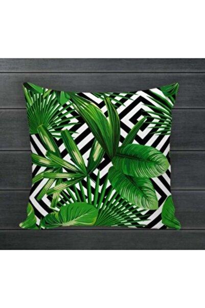 Anka Tropikal Yaprak Desenli Taytüyü Kırlent Kılıfı 42x42 Cm