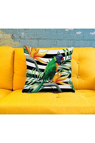 Anka Tropikal Papağan Desenli Taytüyü Kırlent Kılıfı 42x42 Cm