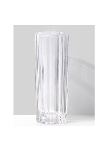 GLASSY Silindir Rölyefli Cam Vazo (15 Cm Çap-40 Cm Yükseklik)