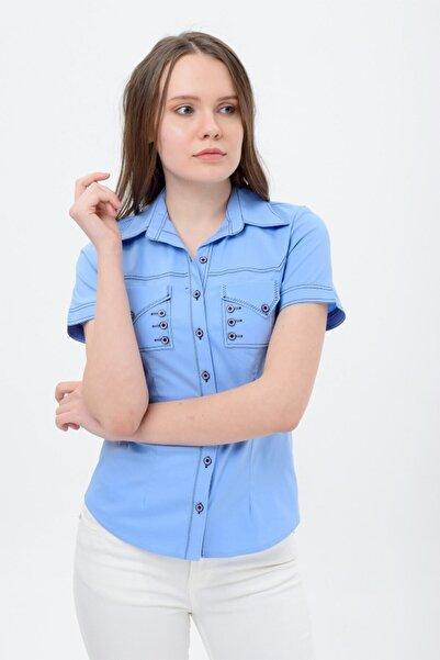 Sima Kadın Mavi Kısa Kollu Gömlek