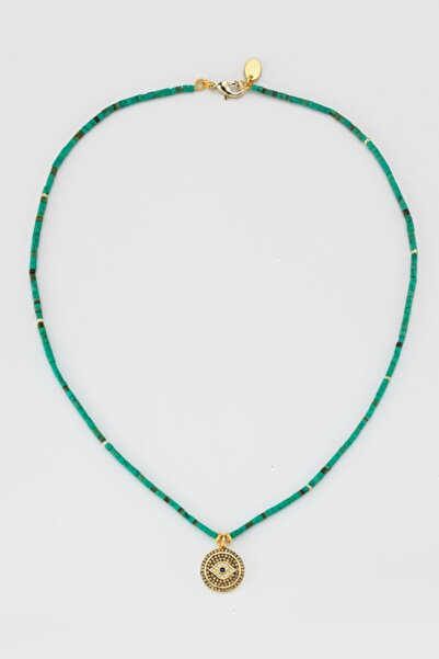 BERRİN ÖZKAN Nazar Madalyon Yeşil Boncuklu Kolye