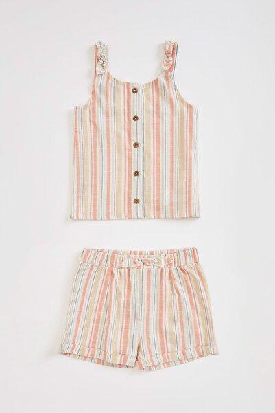 DeFacto Kız Bebek Çizgili Askılı Bluz ve Şort Takım