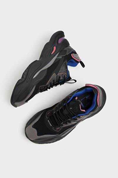Bershka Erkek Siyah Fileli Çok Parçalı Spor Ayakkabı