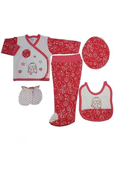 Misket Kız Bebek Kırmızı Şal Model Hastane Çıkış Seti 5'li